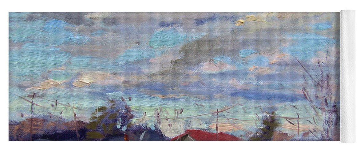 Clouds Yoga Mat featuring the painting A Cloudy Day by Ylli Haruni