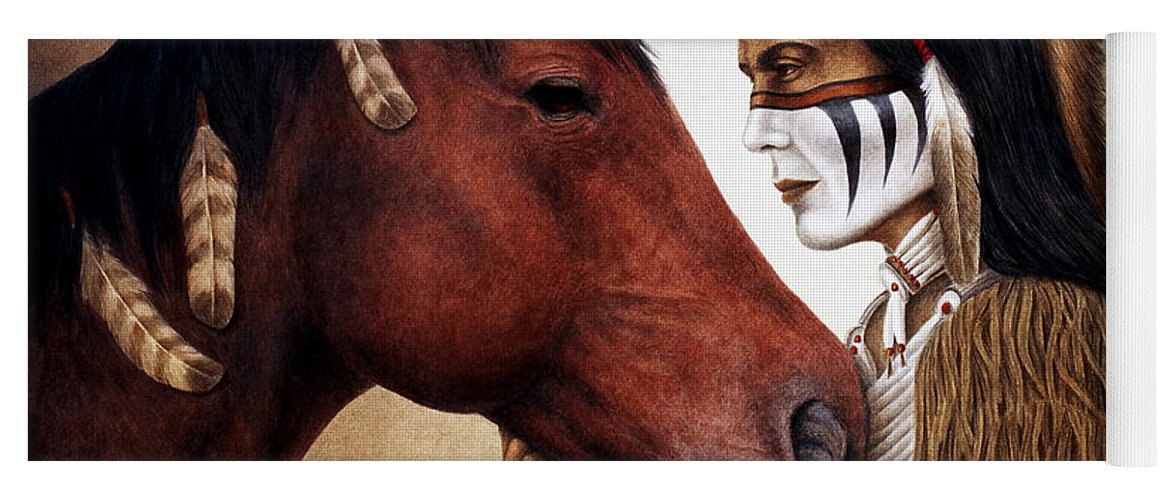 Horse Yoga Mat featuring the painting A Conversation by Pat Erickson