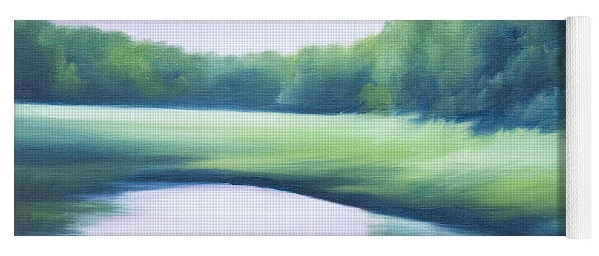 Nature; Lake; Sunset; Sunrise; Serene; Forest; Trees; Water; Ripples; Clearing; Lagoon; James Christopher Hill; Jameshillgallery.com; Foliage; Sky; Realism; Oils; Green; Tree; Blue; Pink; Pond; Lake Yoga Mat featuring the painting A Day In The Life 1 by James Christopher Hill