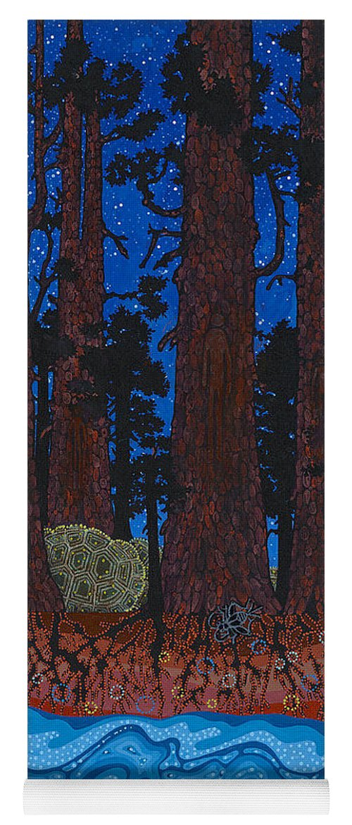 Native American Yoga Mat featuring the painting A Forest Whispers by Chholing Taha