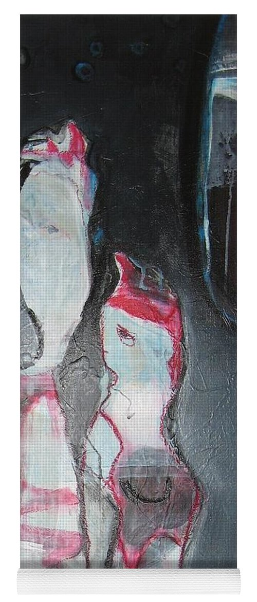 Abstract Paintings Yoga Mat featuring the painting A Flase Rumor by Seon-Jeong Kim