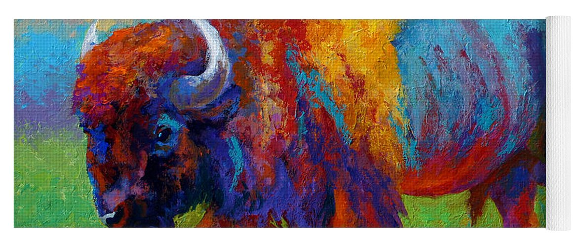 Wildlife Yoga Mat featuring the painting A Journey Still Unknown - Bison by Marion Rose