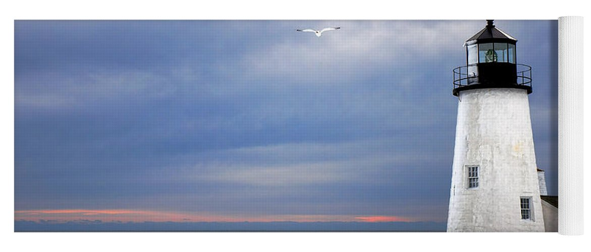 Maine Yoga Mat featuring the photograph A Lonely Seagull Was Flying Over The Pemaquid Point Lighthouse by Olivier Le Queinec