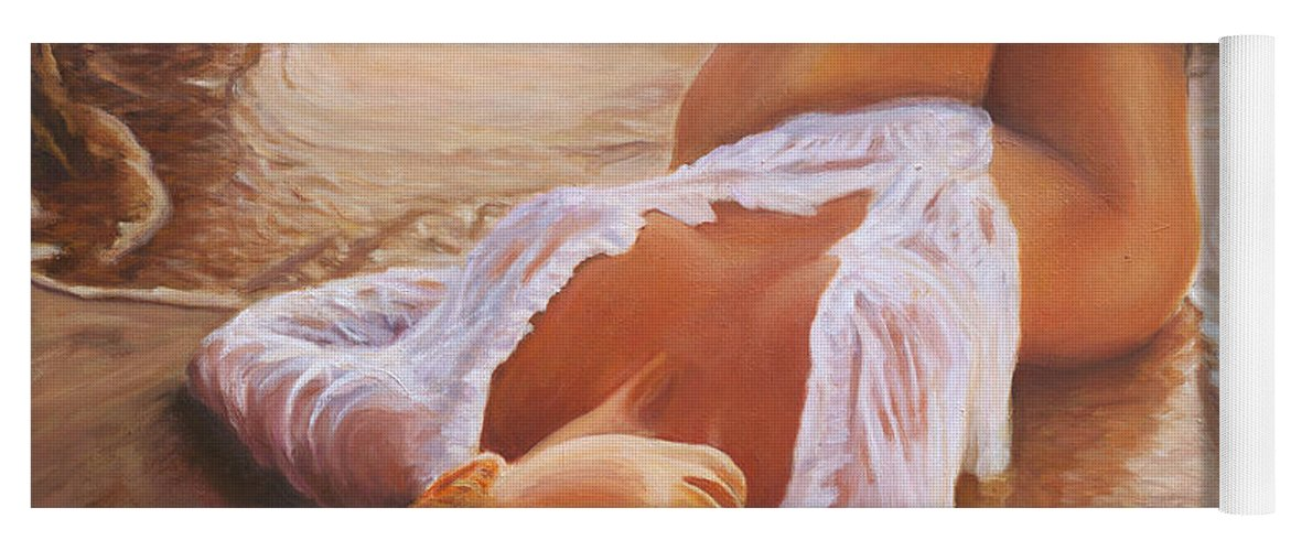 Mermaid Siren Sensual Sunset Sea Water Lady Sexy Yoga Mat featuring the painting A Mermaid In The Sunset - Love Is Seduction by Marco Busoni