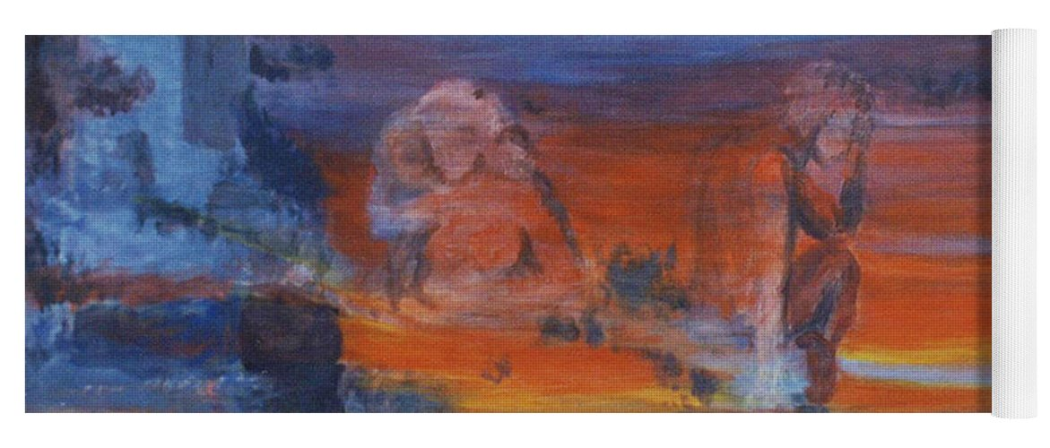 Abstract Yoga Mat featuring the painting A Mystery Of Gods by Steve Karol