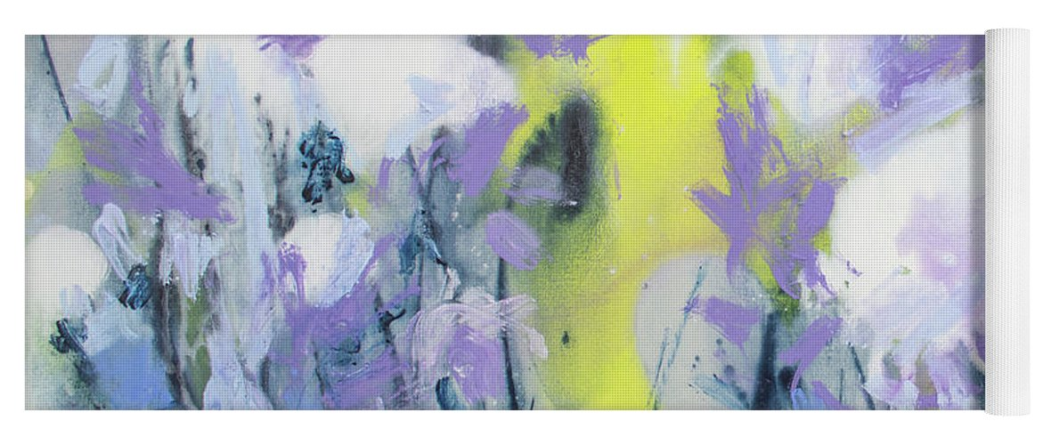 Abstract Yoga Mat featuring the painting A Patch Of Purple by Claire Desjardins