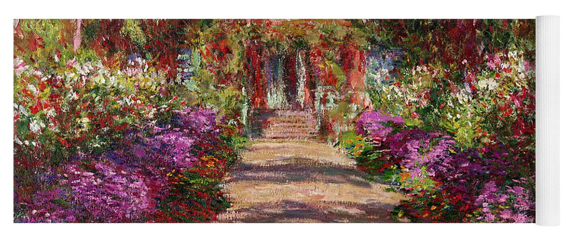 Pathway Yoga Mat featuring the painting A Pathway In Monets Garden Giverny by Claude Monet