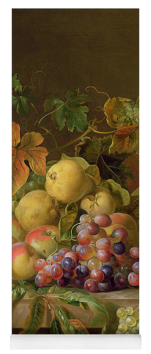 Still Yoga Mat featuring the painting A Still Life Of Melons Grapes And Peaches On A Ledge by Jakob Bogdani