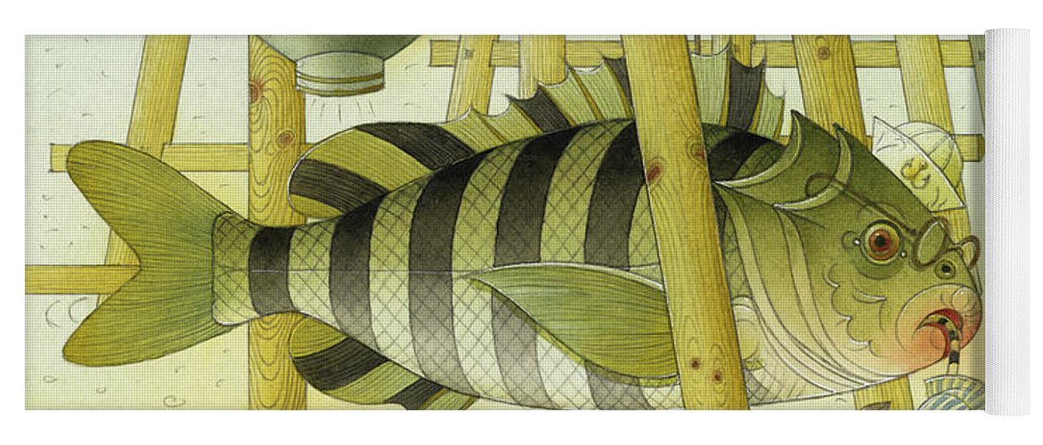 Striped Zebra Animals Fish Submarine Underwater Water Sea Sand Illustration Children Book Yoga Mat featuring the painting A Striped Story07 by Kestutis Kasparavicius