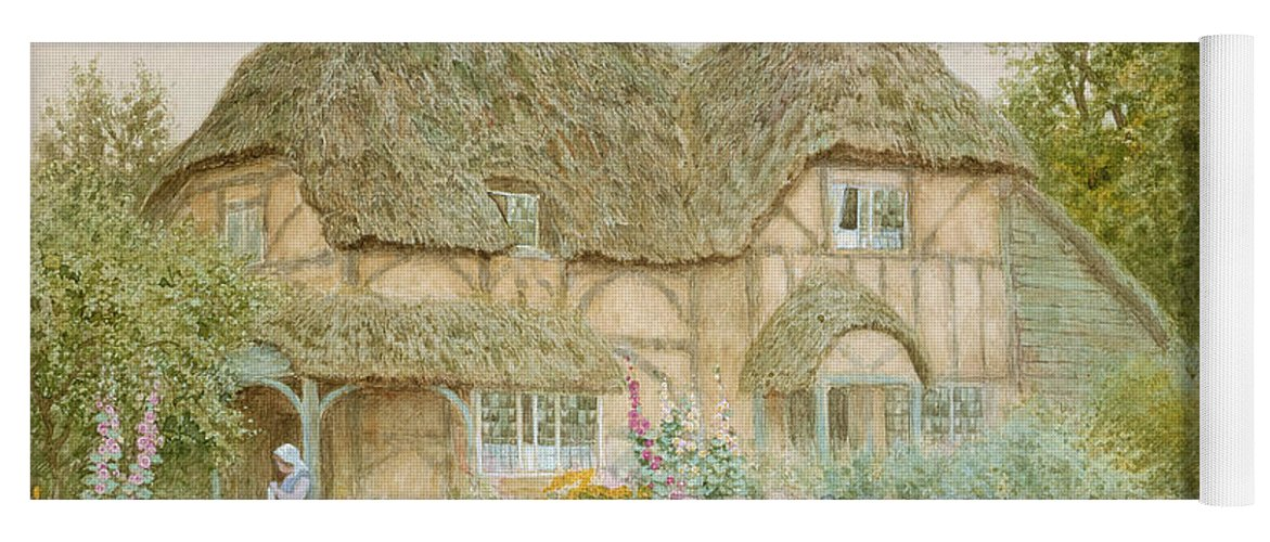 A Surrey Cottage (w/c) By Arthur Claude Strachan (1865-1935) Yoga Mat featuring the painting A Surrey Cottage by Arthur Claude Strachan