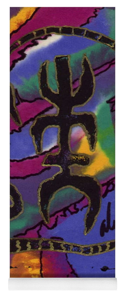 Abstract Yoga Mat featuring the mixed media A Symbol Of Life by Angela L Walker