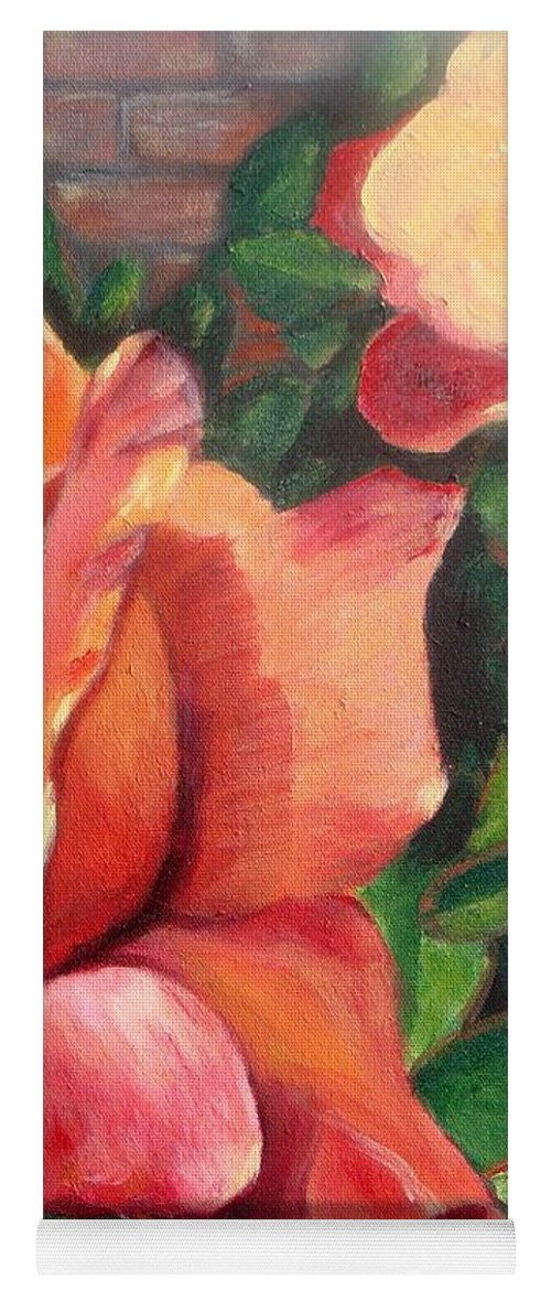Rose Yoga Mat featuring the painting A Tale Of Two Roses by Laurie Morgan