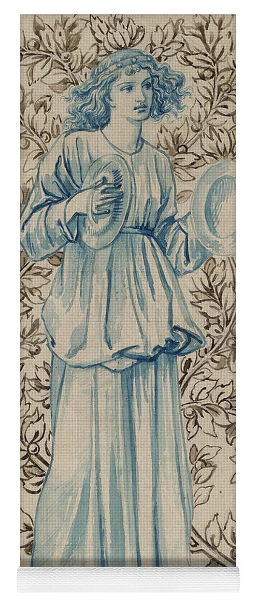 William Morris Yoga Mat featuring the drawing A Woman Playing Cymbals by William Morris