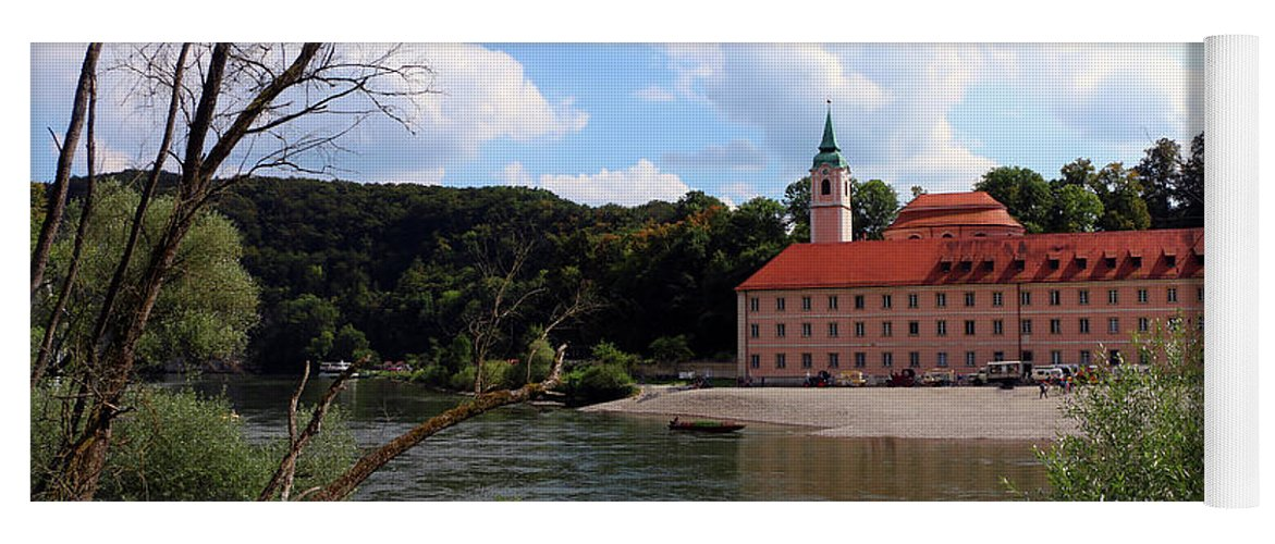 Abbey Yoga Mat featuring the photograph Abbey Weltenburg And Danube River by Christiane Schulze Art And Photography