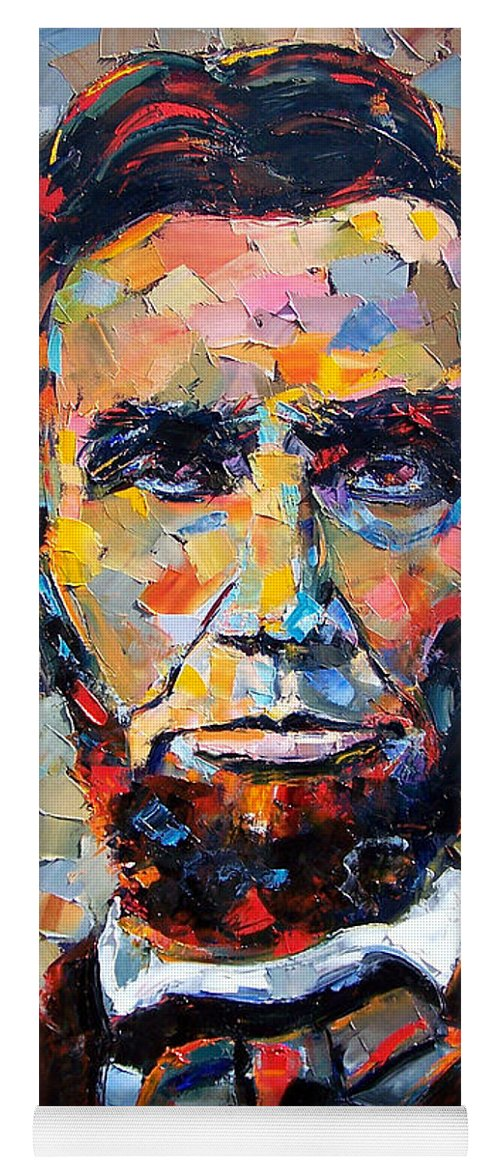President Yoga Mat featuring the painting Abraham Lincoln portrait by Debra Hurd
