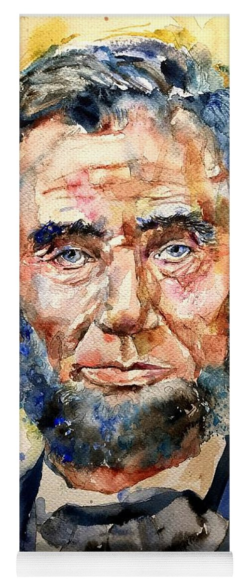 Abraham Yoga Mat featuring the painting Abraham Lincoln Watercolor by Suzann Sines
