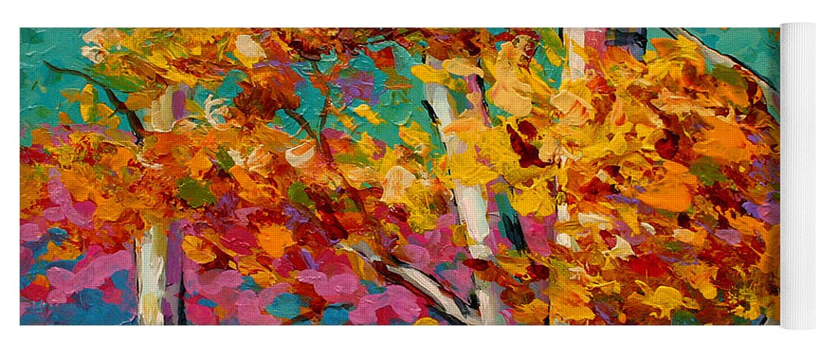 Trees Yoga Mat featuring the painting Abstract Autumn IIi by Marion Rose