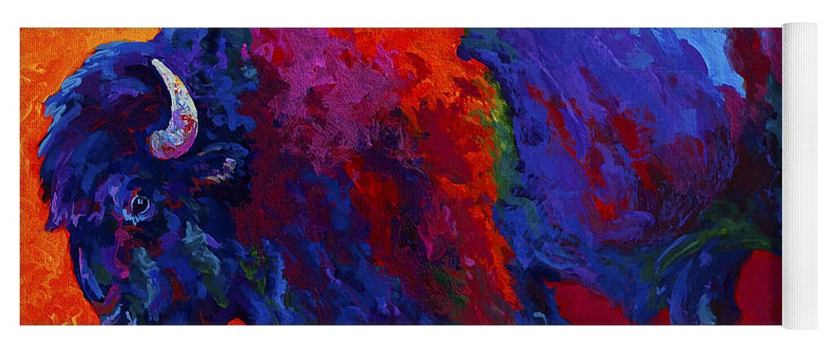 Bison Yoga Mat featuring the painting Abstract Bison by Marion Rose