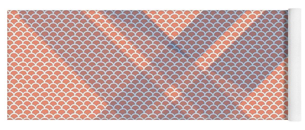 Brandi Fitzgerald Yoga Mat featuring the digital art Abstract Blue And Orange Bars by Brandi Fitzgerald