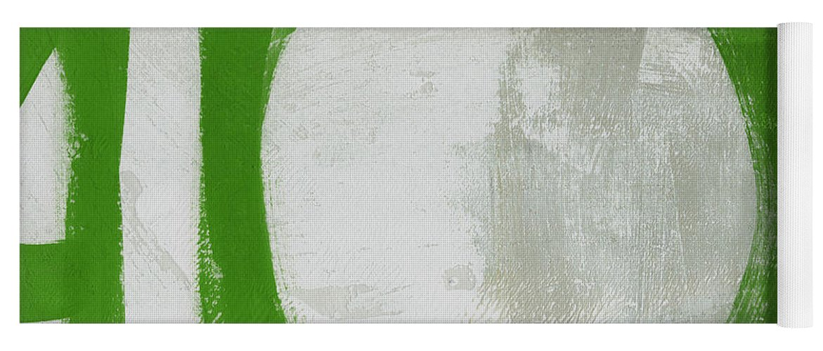 Abstract Yoga Mat featuring the painting Abstract Green Circle 2- Art By Linda Woods by Linda Woods