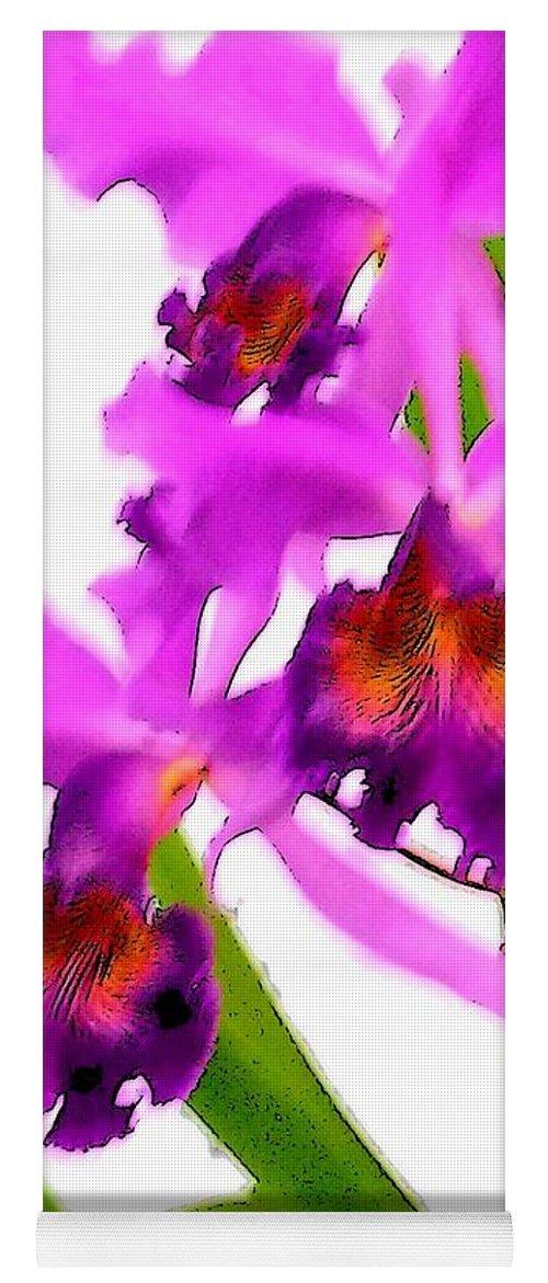 Flowers Yoga Mat featuring the digital art Abstract Iris by Anita Burgermeister