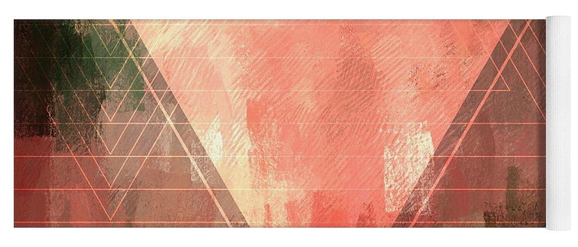 Brandi Fitzgerald Yoga Mat featuring the digital art Abstract Pink Upside-down Triangle by Brandi Fitzgerald