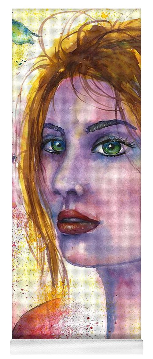 Women Face Yoga Mat featuring the painting Abstract women face by Natalja Picugina