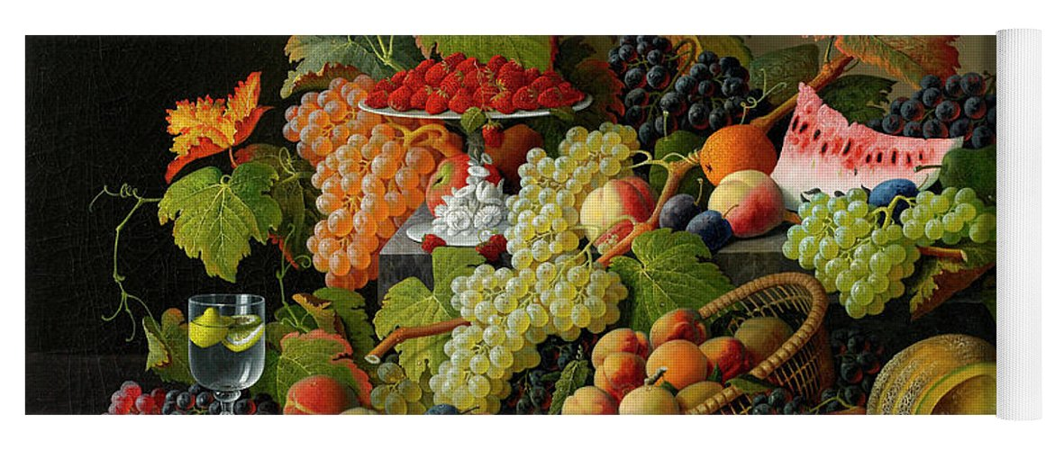 Abundant Fruit Yoga Mat featuring the painting Abundant Fruit, 1858 by Severin Roesen