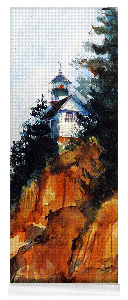 Acadia. Acadian Yoga Mat featuring the painting Acadian Lighthouse by Charles Rowland