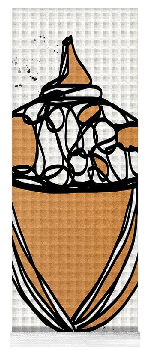 Acorn Yoga Mat featuring the mixed media Acorn- Art By Linda Woods by Linda Woods