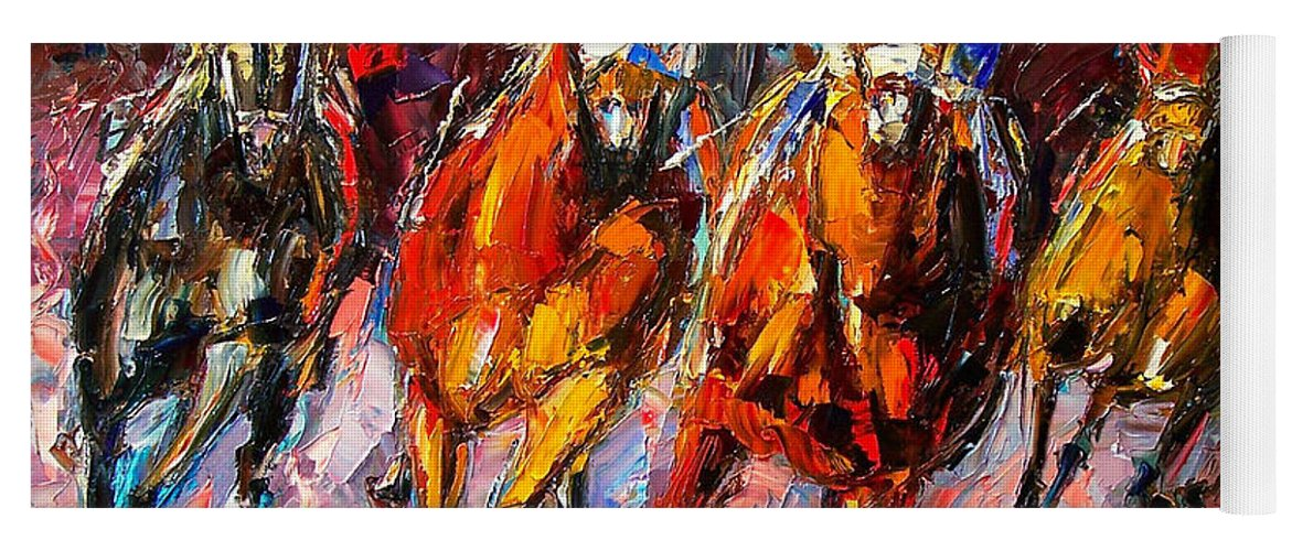 Horse Race Yoga Mat featuring the painting Adrenaline by Debra Hurd