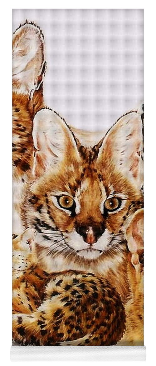 Serval Yoga Mat featuring the drawing Adroit by Barbara Keith
