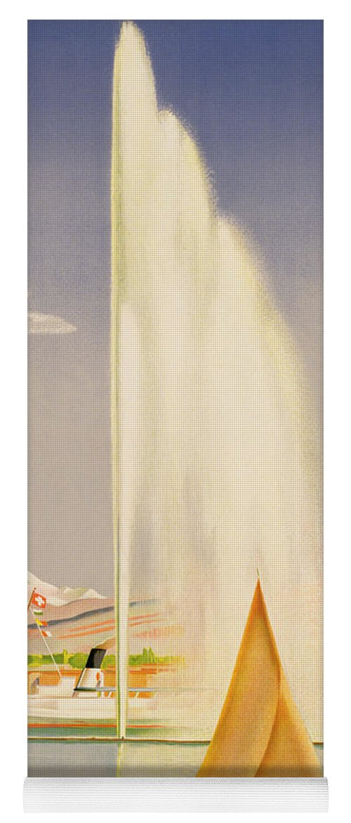 Advertisement For Travel To Geneva Yoga Mat featuring the painting Advertisement For Travel To Geneva by Fehr