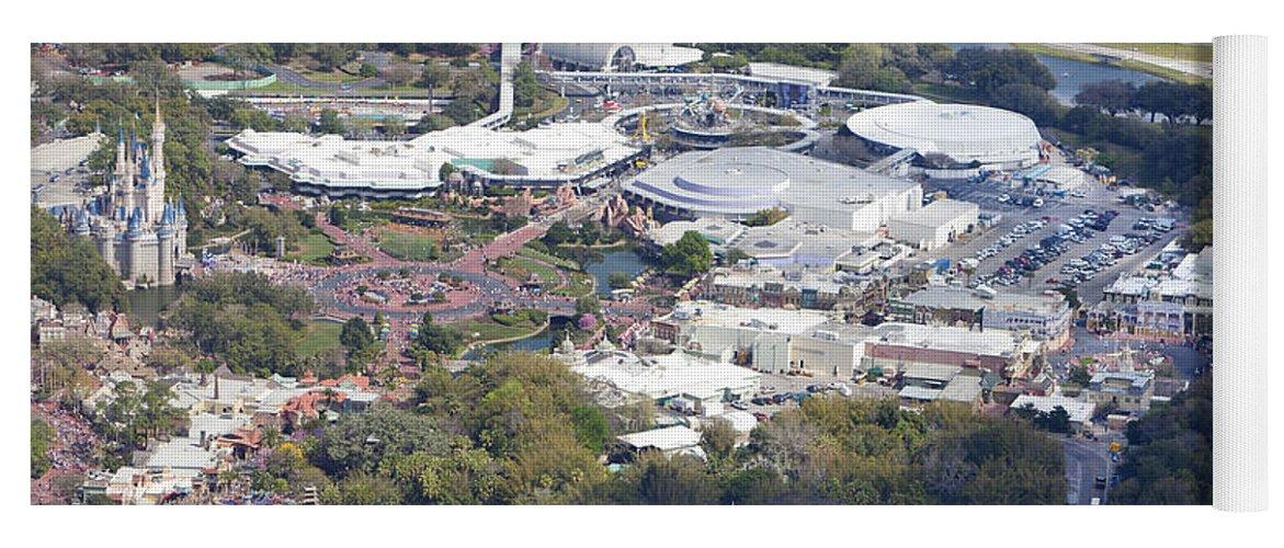 Aerial View Of Walt Disney World S Magic Kingdom Yoga Mat For Sale