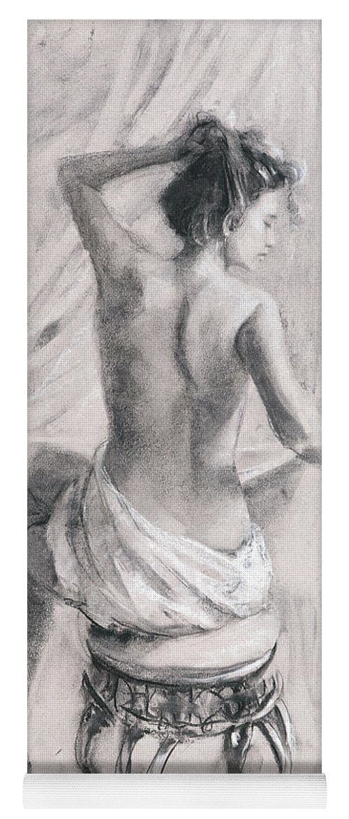 Bath Yoga Mat featuring the painting After The Bath by Steve Henderson