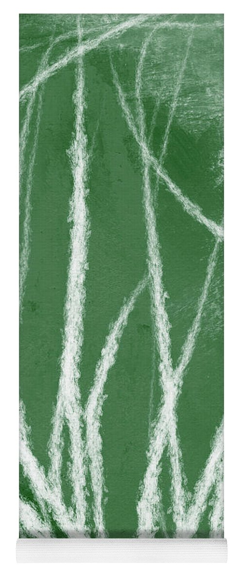 Green Yoga Mat featuring the mixed media Agave- Abstract Art By Linda Woods by Linda Woods