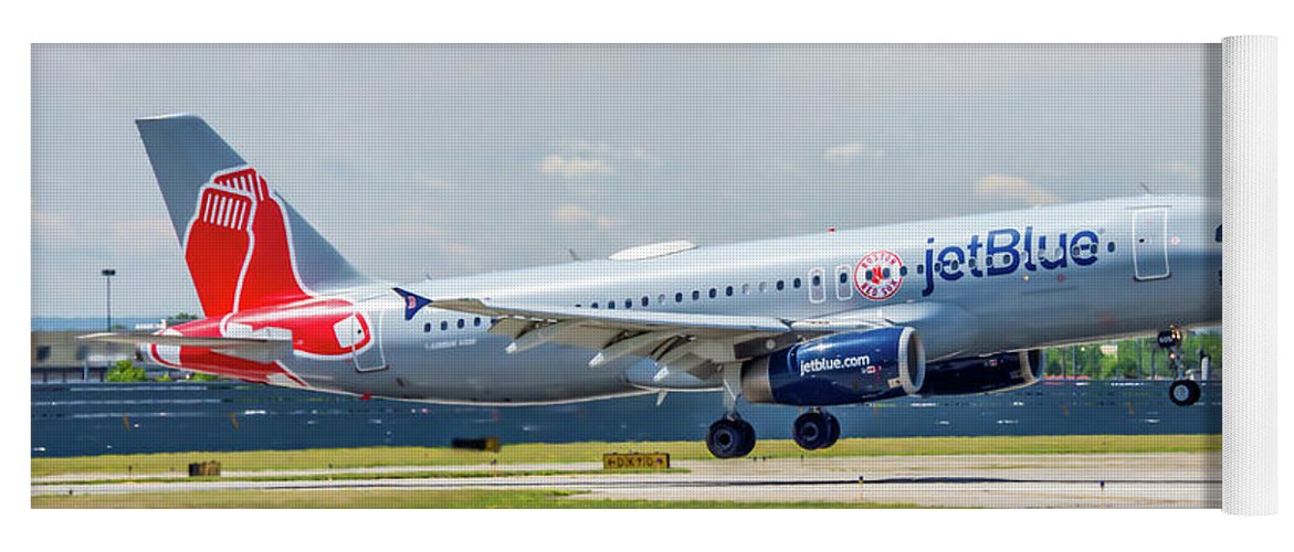 Air Travel Yoga Mat featuring the photograph Airbus A320 Boston Strong by Guy Whiteley