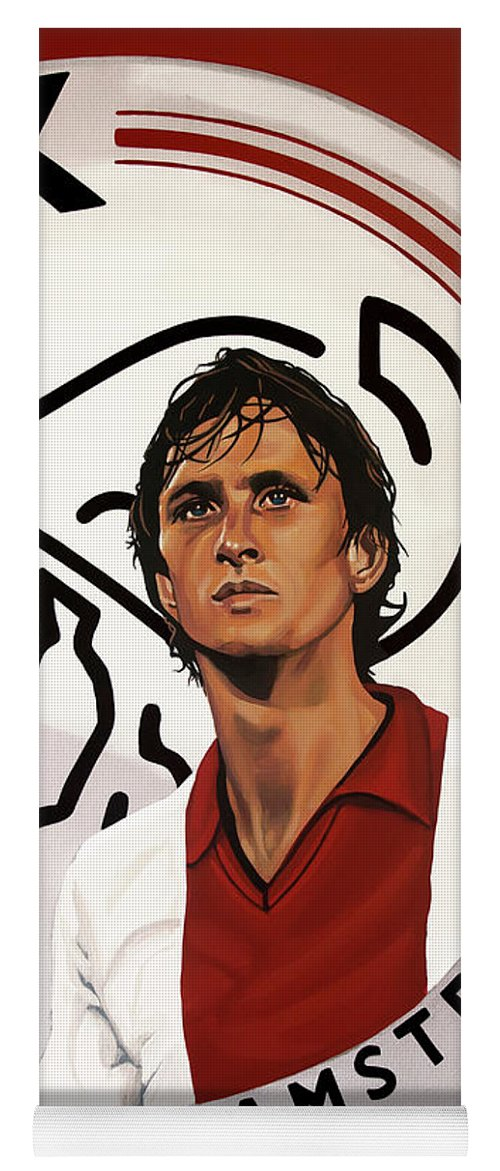 Johan Cruijff Yoga Mat featuring the painting Ajax Amsterdam Painting by Paul Meijering