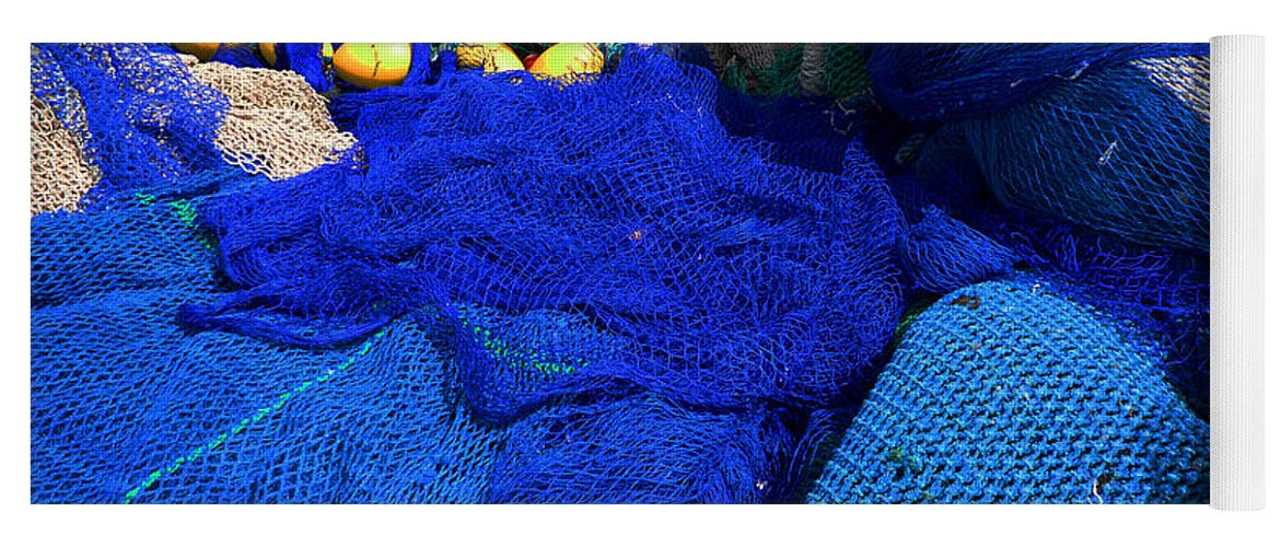 Fishing Net Yoga Mat featuring the photograph All The Blue Of The Sea by Charles Stuart