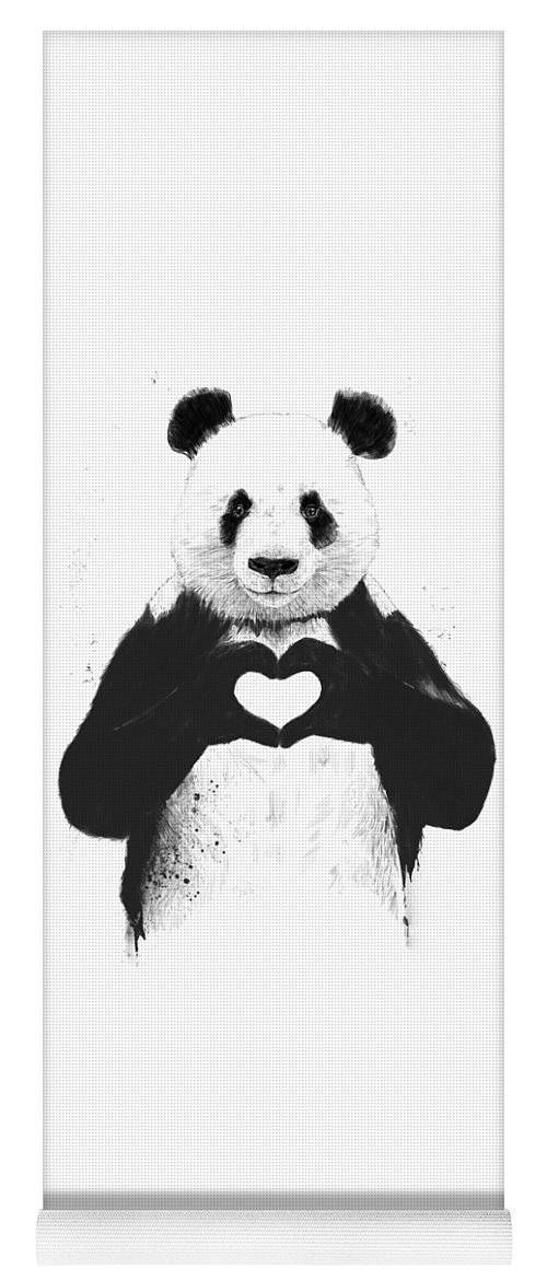 Panda Yoga Mat featuring the painting All you need is love by Balazs Solti