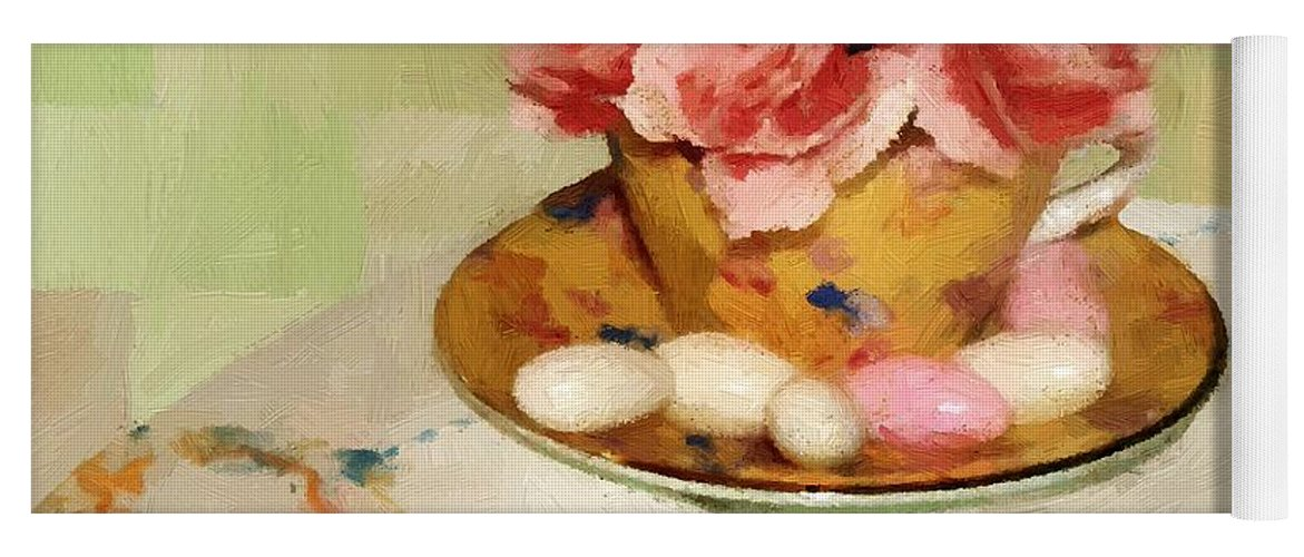 Almonds Yoga Mat featuring the painting Almond Blossom Tea by RC DeWinter