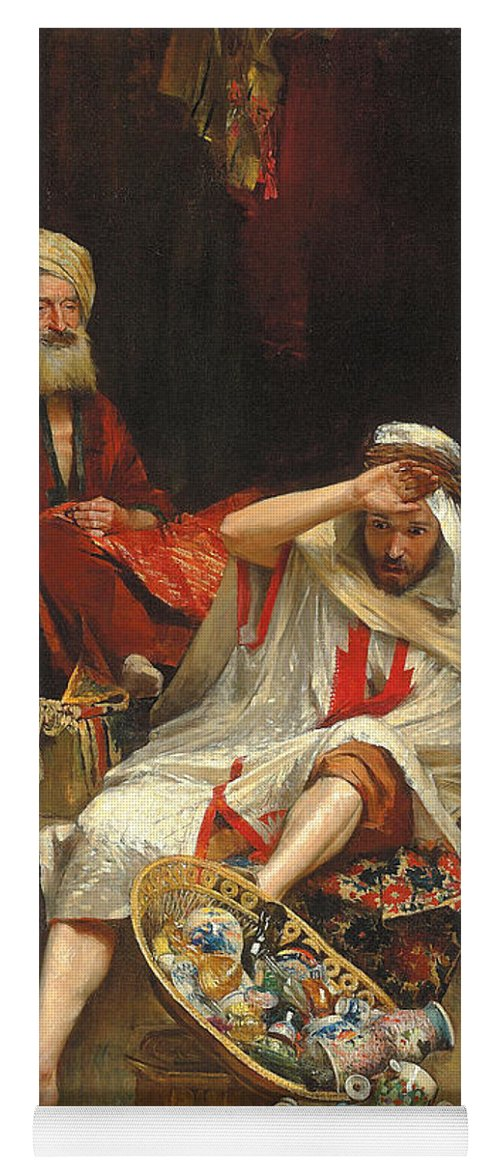 Arabian Nights Yoga Mat featuring the painting Alnaschar's Fortune, Arabian Nights, 1879 by William Ewart Lockhart