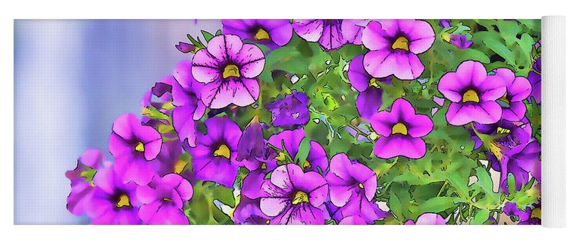 Linda Brody Yoga Mat featuring the digital art Aloha Purple Sky Calibrachoa Abstract I by Linda Brody
