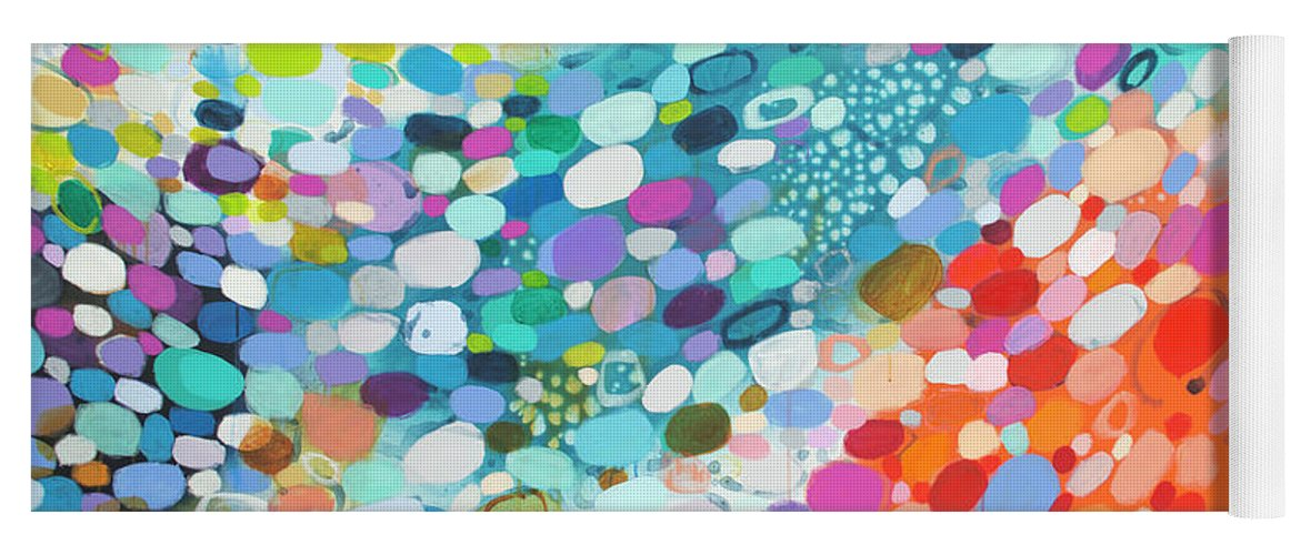Abstract Yoga Mat featuring the painting Always Looking For True Love by Claire Desjardins