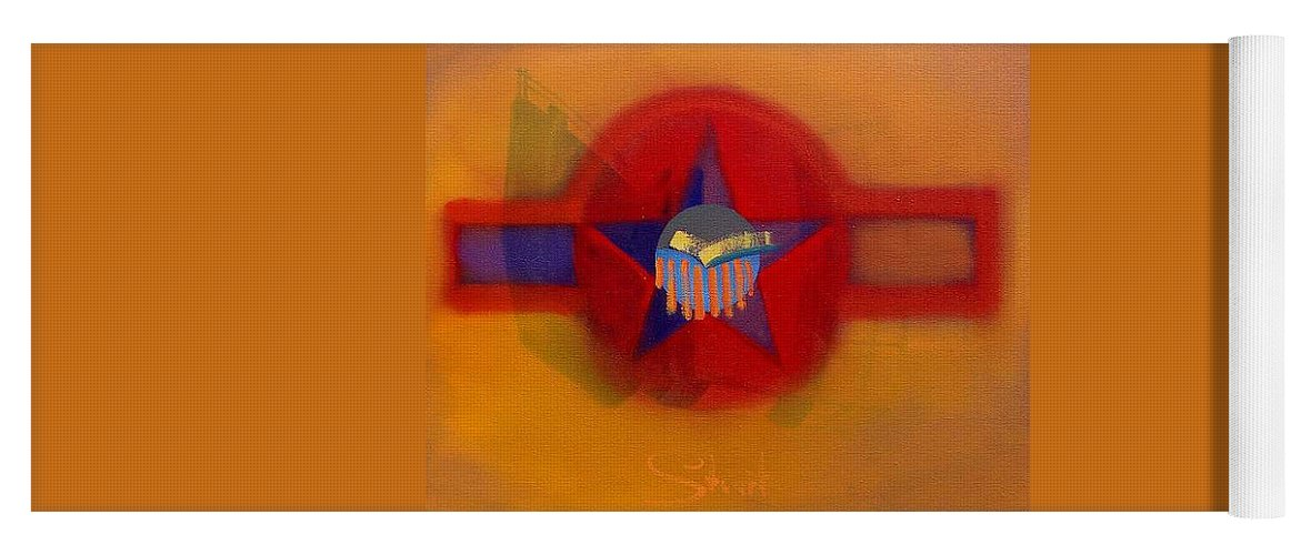 Usaaf Insignia And Idealised Landscape In Union Yoga Mat featuring the painting American Sub Decal by Charles Stuart