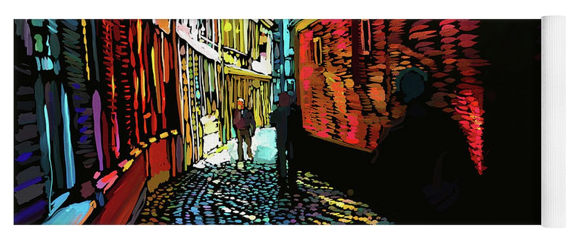 Amsterdam Yoga Mat featuring the painting Amsterdam Cobbletones by DC Langer