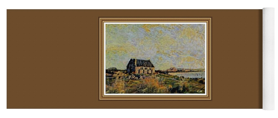 Amsterdam Yoga Mat featuring the digital art An Old Scottish Cottage Overlooking A Loch L A S With Decorative Ornate Printed Frame. by Gert J Rheeders