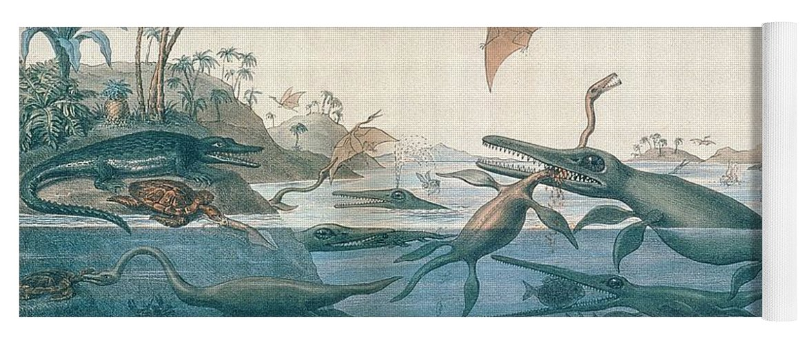 Duria Antiquior (ancient Dorset) Depicting A Imaginative Reconstruction Of The Life Of The Jurassic Seas Yoga Mat featuring the drawing Ancient Dorset by Henry Thomas De La Beche