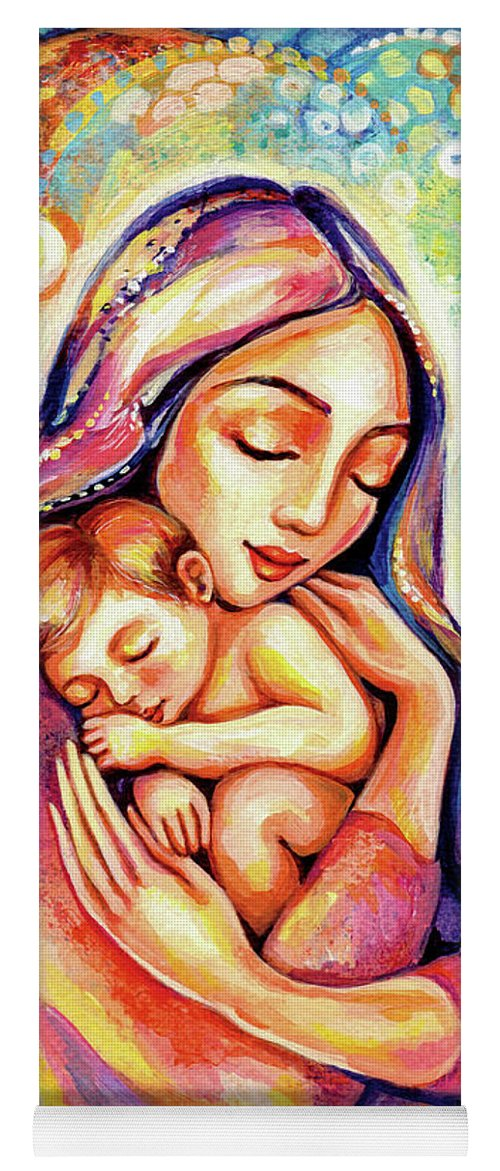 Mother And Child Yoga Mat featuring the painting Angel Dream by Eva Campbell