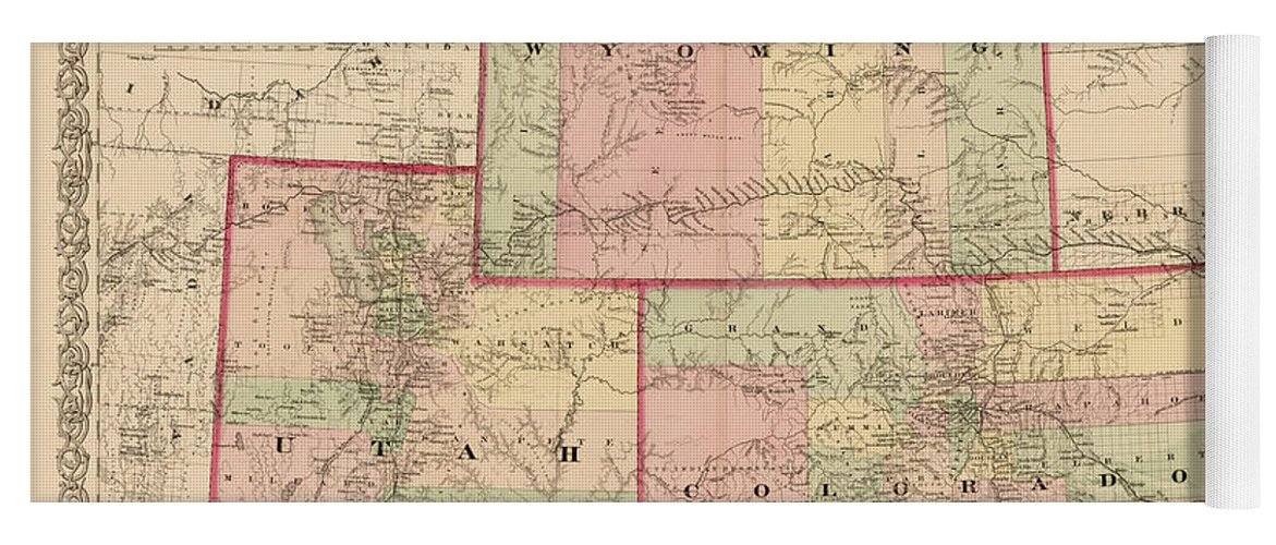 Antique Map - Colton\'s Wyoming Colorado And Utah 1876 Yoga Mat